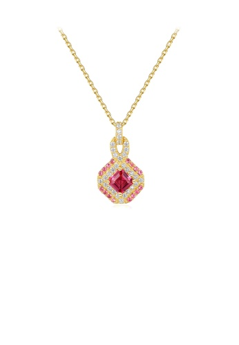 Glamorousky red 925 Sterling Silver Plated Gold Fashion Bright Geometric Pendant with Cubic Zirconia and Necklace 3B9AEAC2E741B9GS_1
