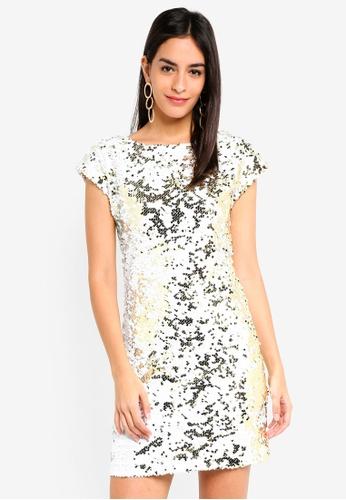 3a481ed9aee Dorothy Perkins white White Gold Sequin Shift Dress DF7A3AA8EADA1EGS 1