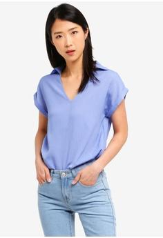 5c1d3c546fd71c ZALORA BASICS blue Basic V Neck Collar Blouse BD974AACE1722FGS_1
