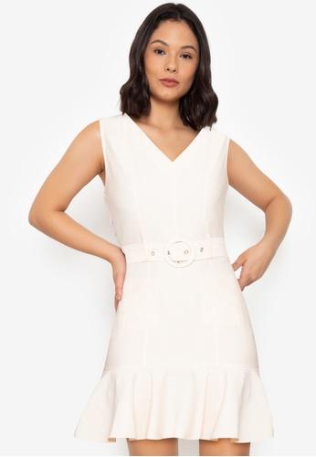 ZALORA WORK white Belted Mermaid Dress A4098AAA1D5F4EGS_1