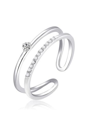 YOUNIQ silver YOUNIQ Basic Korean Silver Little Meteor CZ Diamond 2 Layer Ring 1EDF4AC9B901F4GS_1