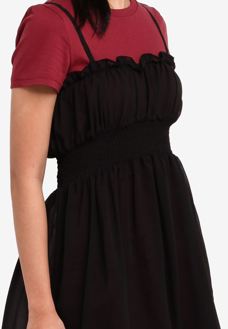 Black Borrowed Dress 2 1 In Maroon Something Sheer Smocked W HBPwZgwRq