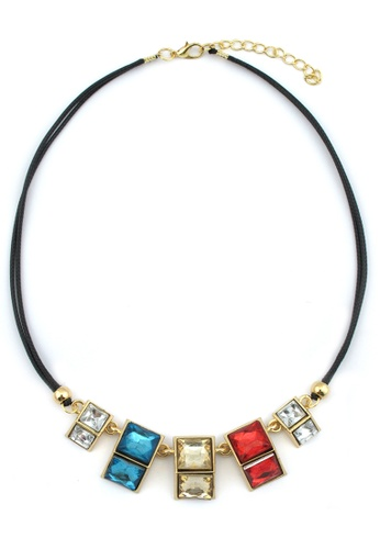 YOUNIQ gold YOUNIQ-Basic Cube Colorful Gemstone Geometric Statement Necklace YO999AC75TFKMY_1