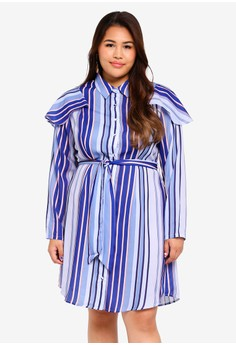 2c65a451bb1 LOST INK PLUS multi Plus Size Stripe Shirt Dress With Frill  A8812AACF46FD4GS 1