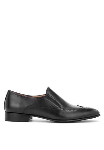 Bristol Shoes black Brewster Wingtip Loafers 8851BSH6332391GS_1