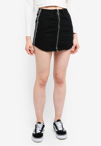 Factorie black Zip Through Denim Skirt CFA42AA6868A6AGS_1