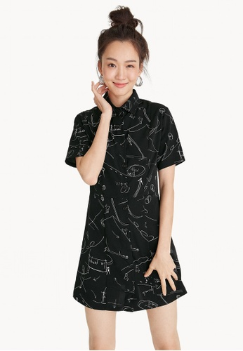 834b4356f39 Buy Pomelo Mini Abstract Illustration Shirt Dress Online on ZALORA Singapore