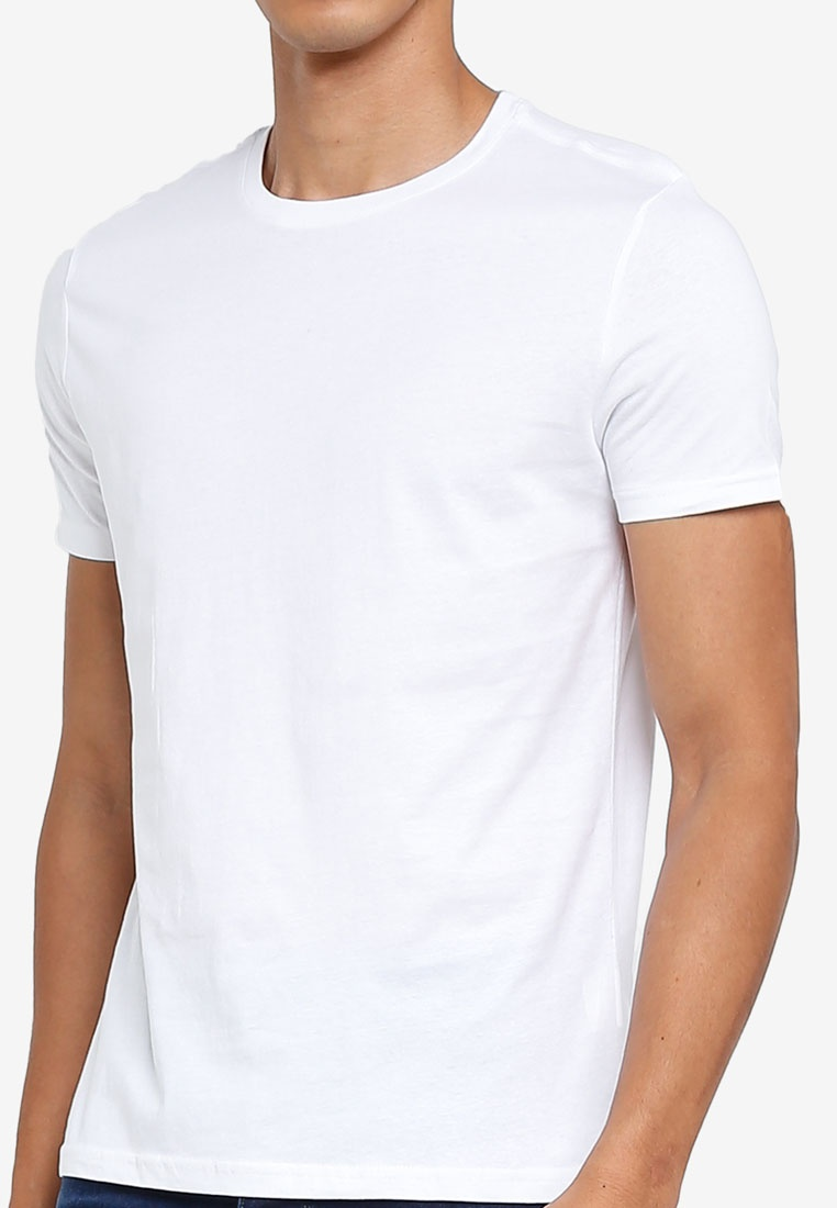 T Bright White OVS Round Neck Basic Shirt 4qnU7BxTw