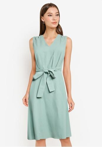 ZALORA WORK green Pleated Waist Dress With Self Tie 2B4BFAA4D2ABC0GS_1
