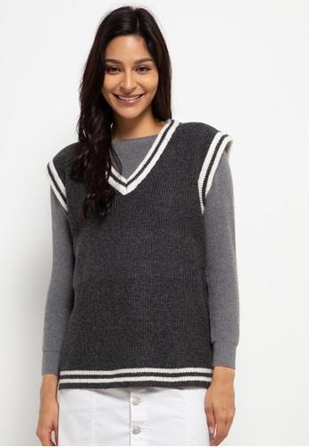 Peponi grey Oversize Stripe Vest BA99DAA434A669GS_1