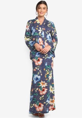 Lubna navy Floral print kebaya 95761AA1CE0A58GS_1