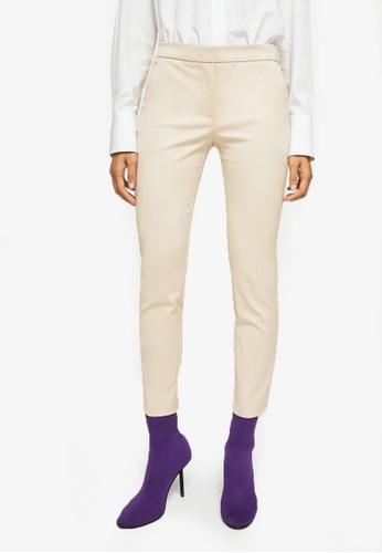 Mango beige Slim-Fit Cotton-Blend Trousers MA193AA0RUZKMY_1