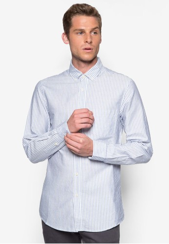 Laguna 細條紋長尖沙咀 esprit outlet袖襯衫, 服飾, 印花襯衫