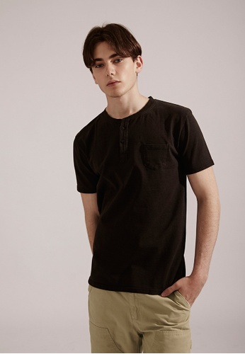 Life8 black Casual Elastic Cotton Washed Pocket U-Neck Tee T-Shirt Top-03853-Black LI283AA0FKM5SG_1