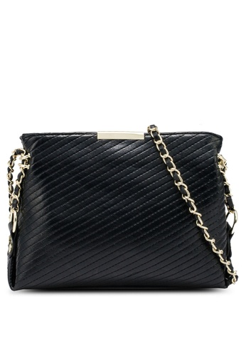 Mel&Co black Quilted Faux Leather Sling Bag 019E9AC8B52873GS_1