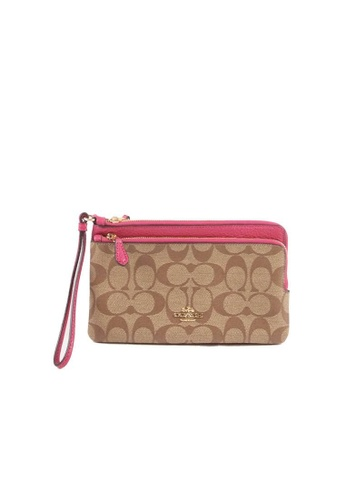 COACH brown and pink Coach Signature Double C5576 Zip Wallet In Khaki Bright Violet 9CD78AC6C4C0C7GS_1