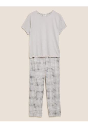MARKS & SPENCER grey M&S Pure Cotton Checked Pyjama Set 13309AA8176DF0GS_1