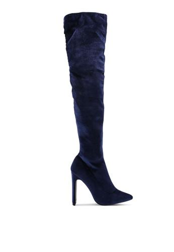 Public Desire 海軍藍色 Stage Point Toe Over The Knee 靴子 E496ESH22021D9GS_1
