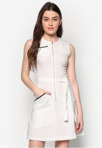 Betesprit hktie 滾邊口袋拉鍊洋裝, 服飾, 短洋裝