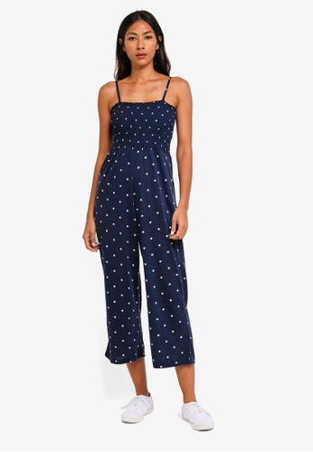 Cotton On blue and navy Sian Shirred Jumpsuit A6D63AABFEBE2FGS_1