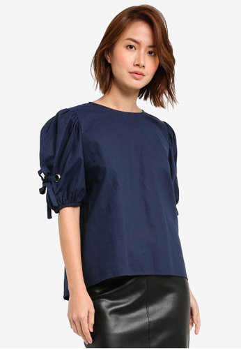 ZALORA navy Top with Self Ties and Eyelets 03DFBAABDD480DGS_1