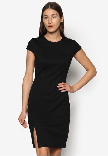 ZALORA black Basics Front Slit Bodycon Dress AQLTUAA0000033GS_1