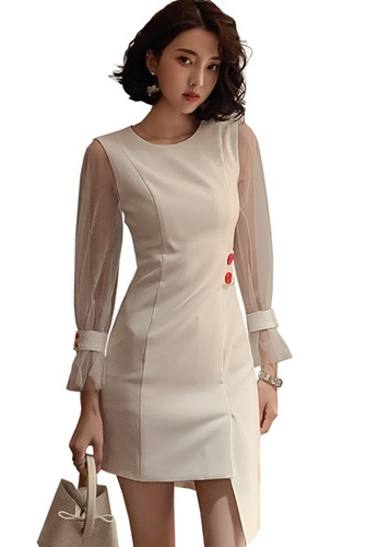 Sunnydaysweety white French Mesh Stitching Slim Irregular One Piece Dress A21022245 98A5EAA9C6627AGS_1