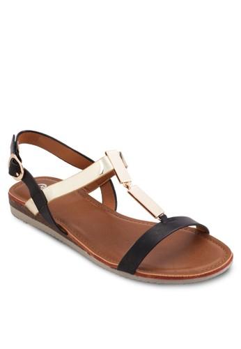 撞色繫帶平zalora 鞋評價底涼鞋, 女鞋, 鞋