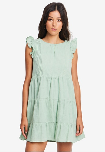 The Fated green Lucy Pintuck Dress 5A35EAA0FBADDAGS_1