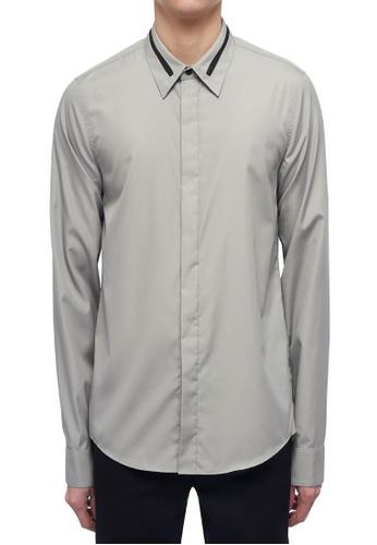 CK CALVIN KLEIN grey Refined Poplin Long-Sleeved Shirt 95DD8AA1DE8A70GS_1