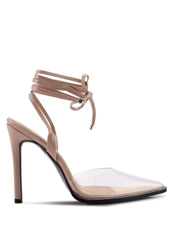 Public Desire beige Private Point Toe Lace Up Heels 06DC4SH784C11EGS_1