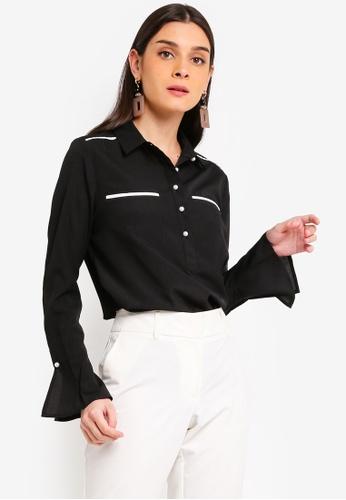 ZALORA 黑色 Trumpet Sleeves Shirt 190CDAA5FD3290GS_1