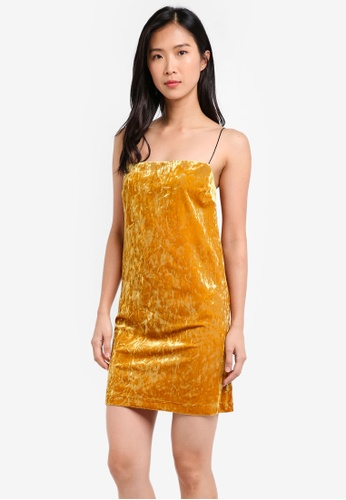 TOPSHOP yellow Velvet Square Neck Mini Slip Dress TO412AA0SIWQMY_1