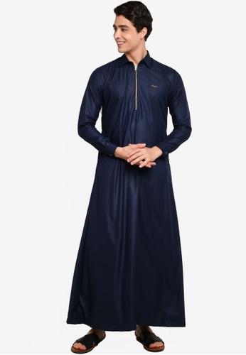 Mudaser blue Blue Muslim Men Robe (Jubah Al-Fateh) 35D9CAAB98C02CGS_1