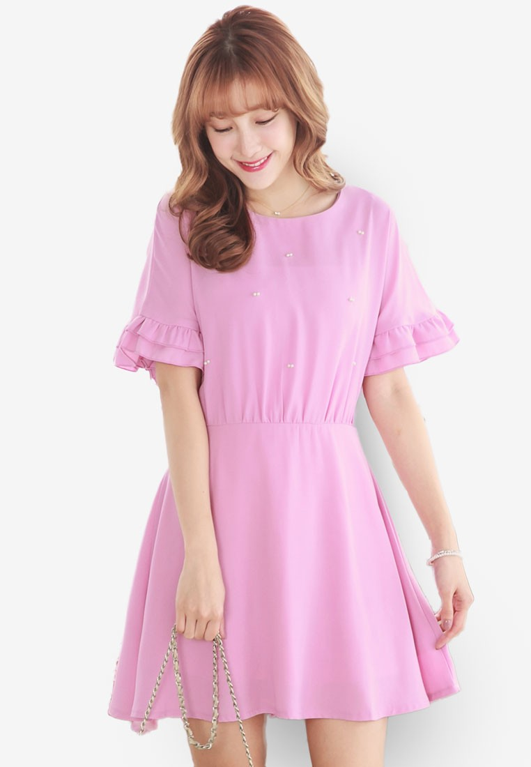 Double Layer Frill Sleeve Dress with Pearl Embellishment