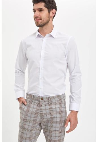 DeFacto white Man Woven Top Long Sleeve Shirt 73E43AAFD0E60AGS_1