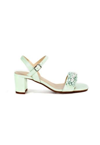 Shu Talk green Floral Trim Sandal Heels with Ankle Straps AB8A3SHA1DA94CGS_1