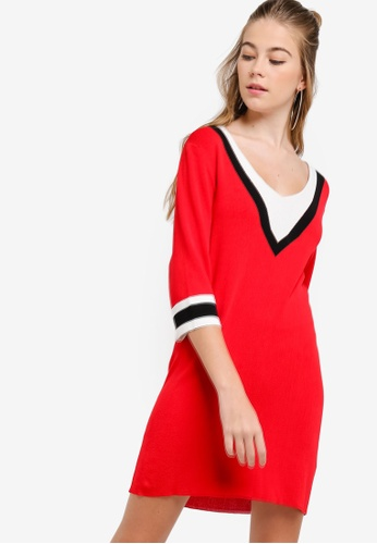 Something Borrowed red Colorblock Knit Sweater Dress D1588AA63BB19AGS_1