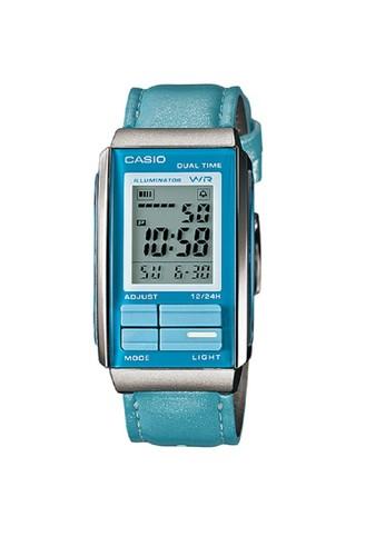 Casio Jam Tangan Wanita Biru Leather Strap LA-201WBL-2A