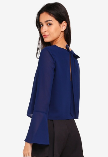 Something Borrowed navy Flare Sleeve Boxy Top 33C9AAA49F4F4FGS_1