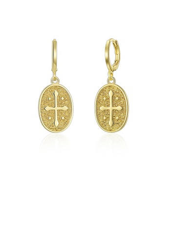 Glamorousky silver Simple and Fashion Plated Gold Cross Oval Earrings 3EC6CAC77C1127GS_1