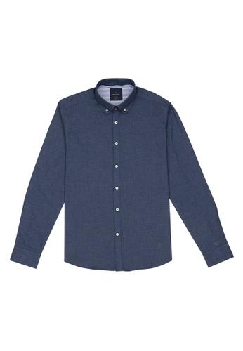 Benjamin Barker navy Tetsu Indigo Washed Chambray Shirt 6CEA8AAD4098F3GS_1