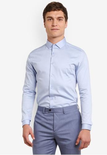 Topman blue Light Blue Premium Satin Touch Smart Shirt TO413AA0S5LPMY_1
