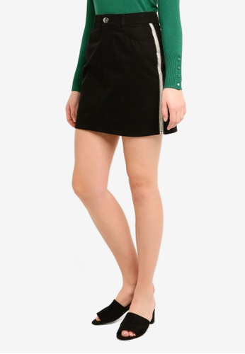 Dorothy Perkins 黑色 Black Side Stripe Mini Skirt 75994AAF3571F9GS_1
