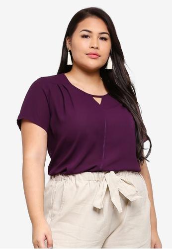 Ex'otico purple Plus Size Short Sleeve Round Neck EF9F7AACEBD5B1GS_1