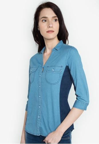 Freego blue Ladies Denim Shirt FR760AA0JGT3PH_1