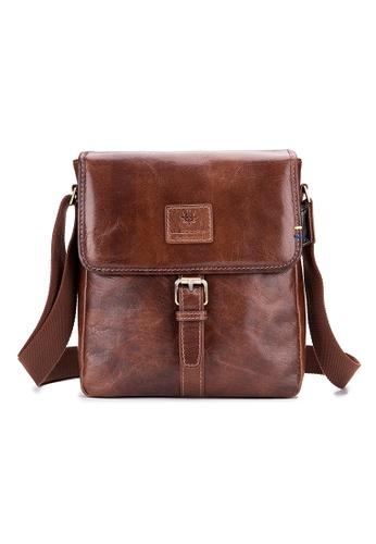 ENZODESIGN brown ENZODESIGN Vintage Buffalo Leather A5 Size Mini Shoulder Bag ( I-Pad Size) D2F6AACAFA72AEGS_1