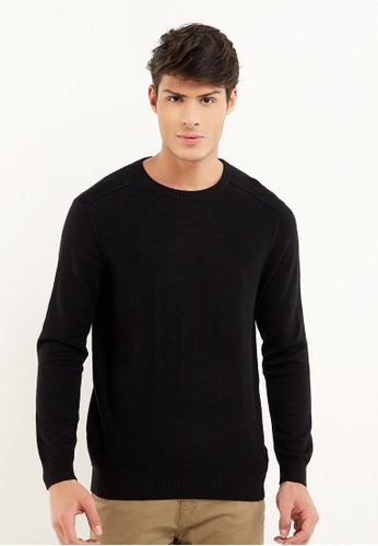 Minarno black Basic Knit Sweater 3678CAA37F3E5EGS_1
