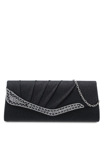 Unisa black Pleated Dinner Clutch With Glittering Stones & Crystal Embellishment 96F89ACC8BDED3GS_1