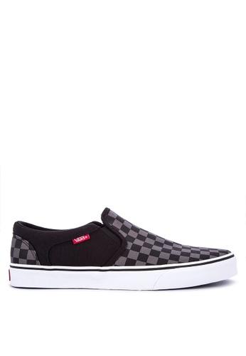 Vans black Asher Slip on Sneakers 1959DSH9E4F7B5GS_1